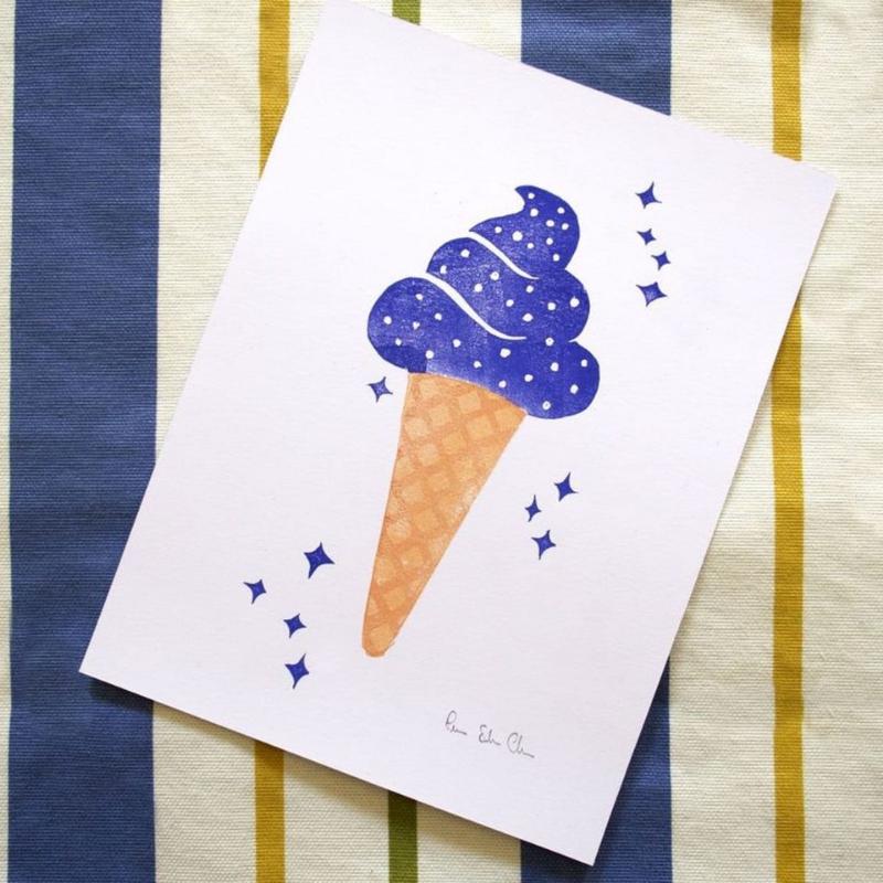 Linoleografia stampa artigianale gelato stellato galattico spaziale